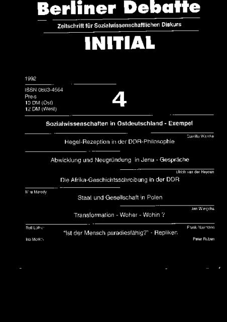 Cover von Sozialwissenschaften in Ostdeutschland - Exempel