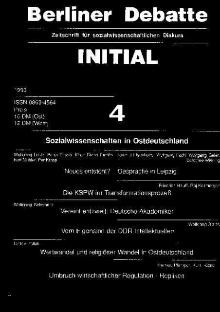 Cover von Sozialwissenschaften ind Ostdeutschland