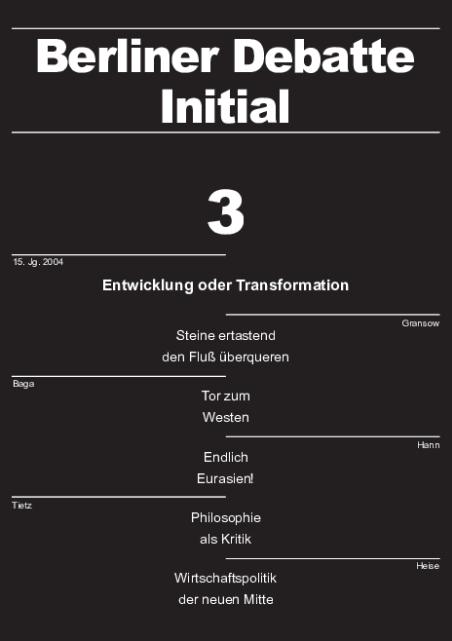 Cover von Entwicklung oder Transformation