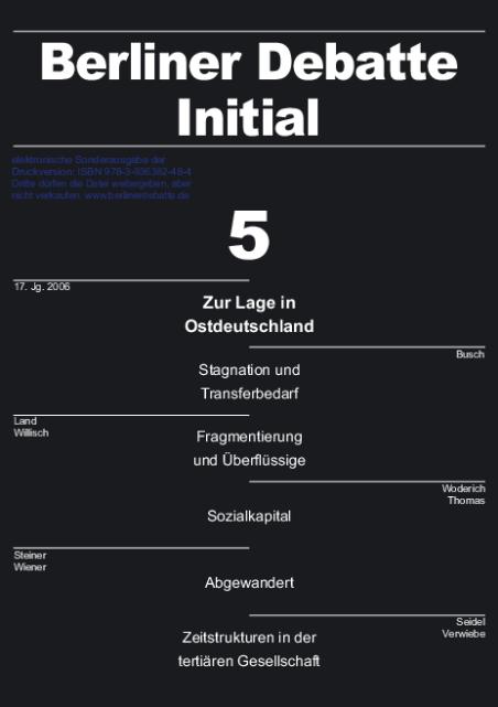 Cover von Zur Lage in Ostdeutschland